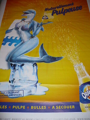 "AFFICHE POSTER GEANT  "" ORANGINA  - DAUPHIN  "" 2008     180x120  TBE NON  PLIEE"