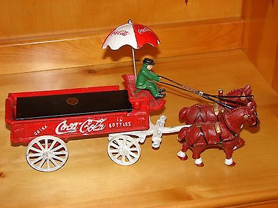Cast Iron Coca Cola Horse Drawn Wagon with Coachman Vintage.