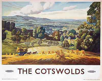 A Cotswolds Gloucestershire Railway Travel Vintage Poster Advertising Art Print