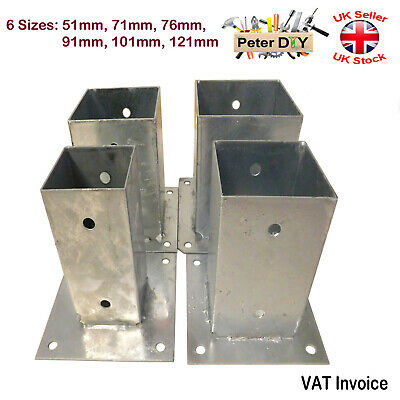 Heavy Duty Galvanised Bolt Down Square Post Fence Foot Pack of: 1 2 or 4