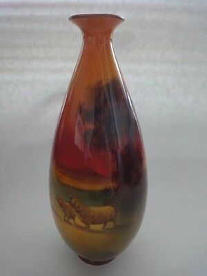"Royal Doulton hand painted Sheep Scene Vase, signed H. Morrel, 9.5 "" Tall"