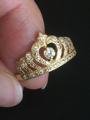 14K SOLID YELLOW GOLD CROWN, TIARA CZ RING Size 7.5 Quinceanera15 Anos Birthday