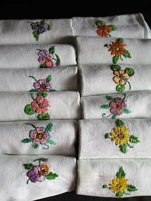 Vintage French Damask Napkins with Flower Embroidery. SET of 12