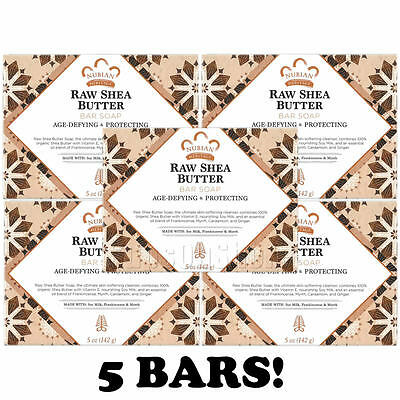 5 x Nubian Heritage - Raw Shea Butter Soap (With Soy Milk, Frankincense & Myrrh)