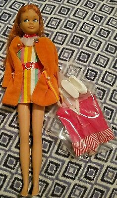 Vintage 1964 Barbie Skipper Red Hair in 1963 coat , dress and shoes + swimsuit