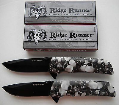 "Ridge Runner White Skull Camo Assisted Open Folder Pocket Knife 4 1/2"", Lot Of 2"