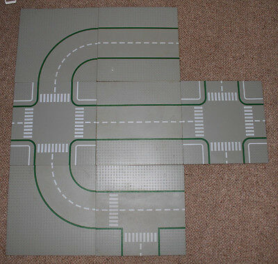 """7 LEGO ROAD PLATES LEGO Town Layout Vintage junctions curves straight 10"""" by 10"""""""