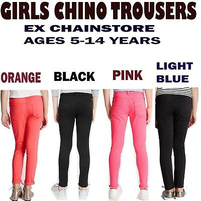 Girls Skinny Jeans trousers Ex Chainstore Cotton Ages 5-14 Years Many Colours