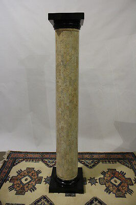 "Maitland-Smith Tessellated Stone Doric Style Column With Brass Feet 72"" Tall"