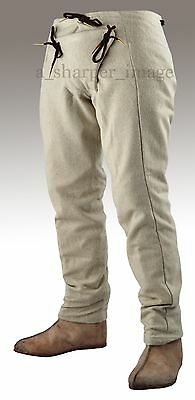 Medieval Pants BEIGE All Sizes Lined Wool Reenactment SCA Knight Padded Codpiece