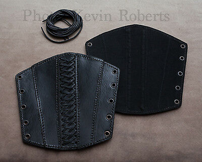 Rugged Lined Black Leather Rogue Bracers Armor Arm Guards by Palnatoke 3 Sizes