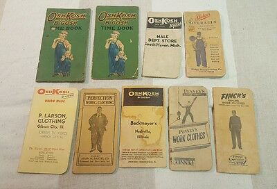 Vintage Lot of 9 Workwear Advertising Time Books 1920s 1960s Osh Kosh Overalls