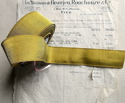 """SPECIAL PRICE Antique/Vintage French Gold Wire Metallic Trim 1 7/16"""""""" Military"""