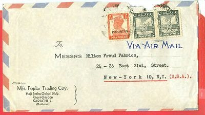 British India KGVI  2a Overprint Pakistan + 8a Pair Mixed use on cover to USA
