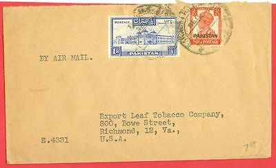 British India KGVI  2a Overprint Pakistan + 1r Buildg  Mixed use on cover to USA