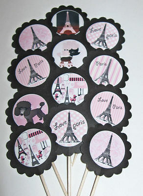 Paris Eiffel Tower Cupcake Toppers/Party Picks Item #646