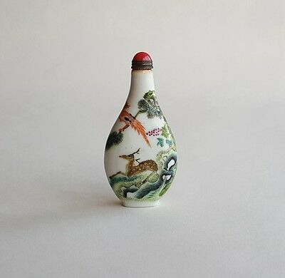 Antique Chinese Famille Rose Porcelain Snuff Bottle