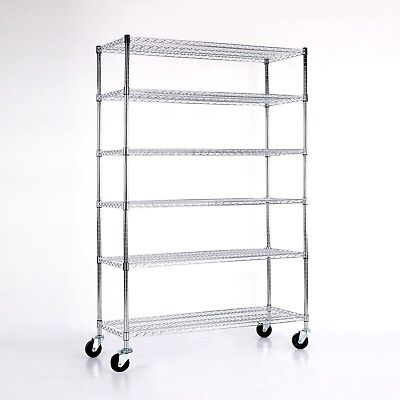 "Adjustable 6 Tier 82""x48""x18"" Chrome Wire Shelving Rack Heavy Duty Steel Shelf"