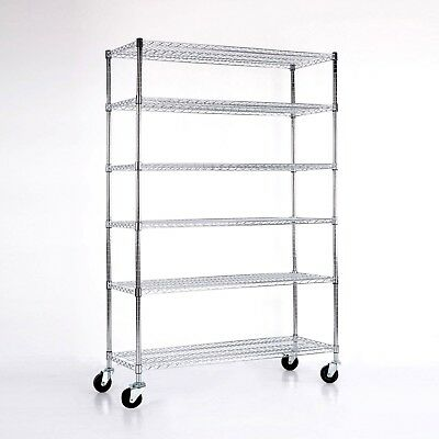 "Adjustable 6 Tier 82""x48""x18"" Heavy Duty Wire Shelving Rack Steel Shelf  Chrome"