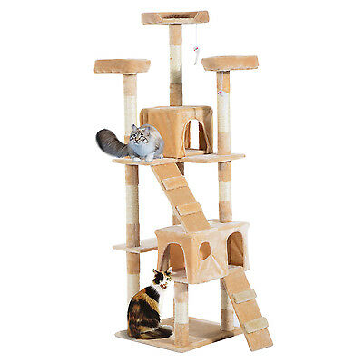 Arbre à Chat Griffoir Grattoir Jouet Animaux 2 Niches en Sisal Beige