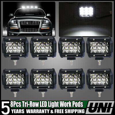 8x 18W 4Inch Cree LED Work Light Flood 4WD Driving Fog Lamp Boat Bumper Offroad