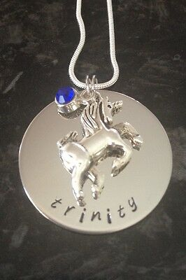 Hand Stamped Personalised Unicorn Name Necklace with Stone. Custom Made.