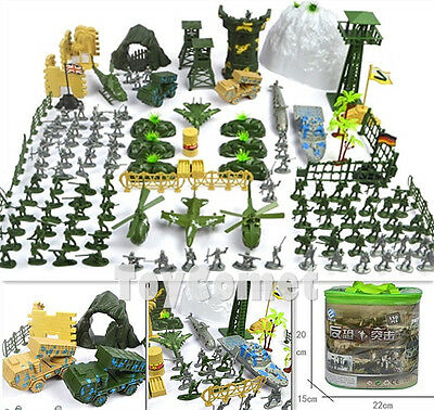 150 pcs Military Playset Plastic Toy Soldier Army Men 1:72 Figures & Accessories