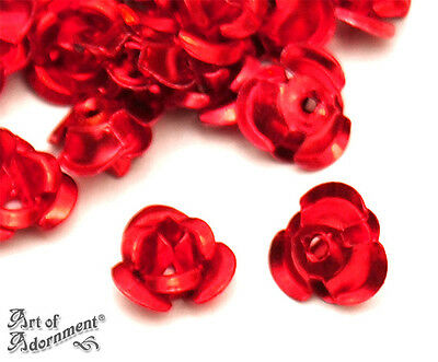 100pcs Metal Red 6mm ALUMINUM ROSE CABOCHON BEADS Roses Bead Cabochons Small