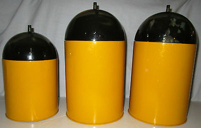 Vintage Mid Century Mod Yellow Metal Canister Set Smoked Acrylic Dome Lids Tin