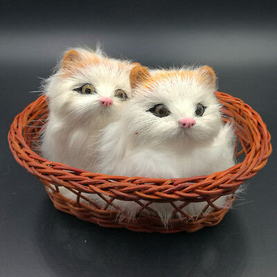 2 Pcs Artificial Handmade Fate Cat Rabbit Hair Cute Lovely With Basket Toy Decor