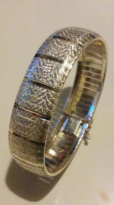 "Fabulous Italian 925 Sterling Silver 18Mm Omega Chain Textured 7.5"" Bracelet***"
