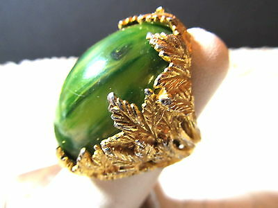 Vintage PAULINE RADER Massive Chunky Green Stone Modernist Cocktail Ring Sz 8