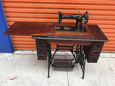 Antique Treadle Singer Sewing Machine With Table and Draws - 1906