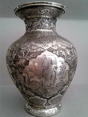 Beautiful Antique Persian Esfahan Solid Silver Figural Vase
