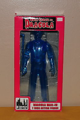"NIB 7"" Mail-In Dracula Figure Bela Lugosi 1998 Figures Toy Co. Transparent Blue"