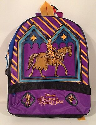 Vtg Disney Hunchback Of Notre Dame Backpack Phoebus Cartoon Movie Book Bag