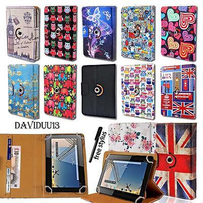 """Leather 360° Rotating Stand Cover Case For Various 7"""" 8"""" 10"""" BQ Tablet + Stylus"""