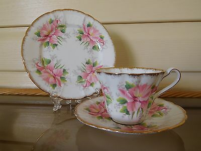 "Vintage Royal Stafford ""Azalea"" Trio Made In England Mint Condition"