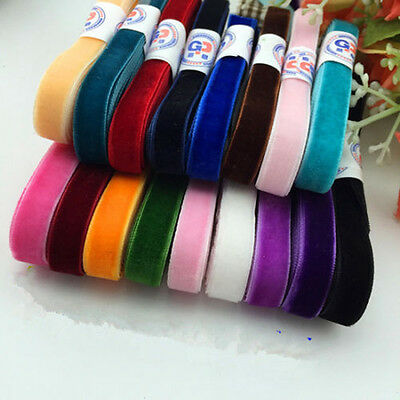 "Colorful 5 Yards 3/8 "" 10mm Velvet Ribbon Headband Clips Bow Decoration DIY"