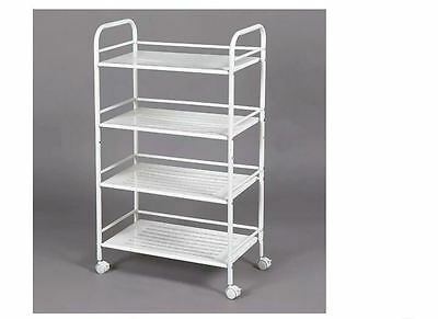 Kitchen Storage Shelf White 4 Tier Steel Service Trolley Cart Castors Wheels