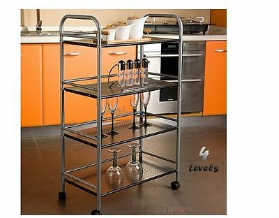 4 Tier Kitchen Storage Shelf Steel Service Trolley Mobile Castors Wheels Sturdy
