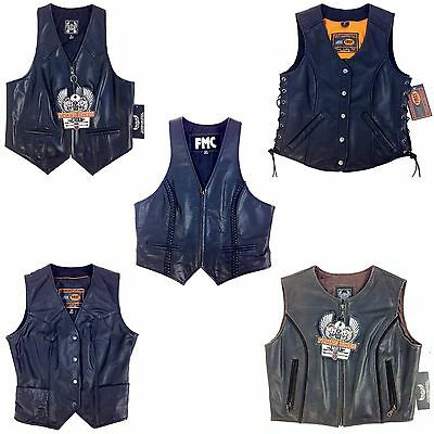First, Women Racing Leather Motorcycle, Biker, Vest, See Description For Detail