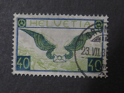 Switzerland 1923 Airmail 40c Blue and Green - Good Used Condition - High CV