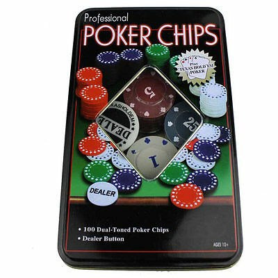 NEW! 100 PCS Small ABS Iron Jettons Poker Casino Chips Playing Cards Game in Box