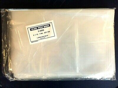 100 CLEAR 9 x 12 POLY BAGS PLASTIC LAY FLAT OPEN TOP PACKING ULINE BEST 1 MIL