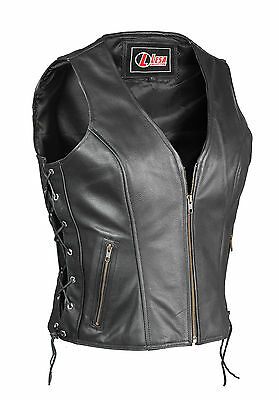 NEW WOMENS LADIES CLASSICALMOTORCYCLE Biker REAL COWHIDE LEATHER WAISTCOAT/VEST