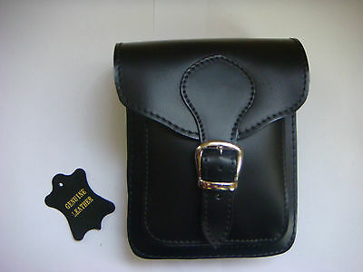 BRAND NEW black  GENUINE LEATHER POUCH/ BELT BAG WITH TWO  POCKETS  FOR MEN