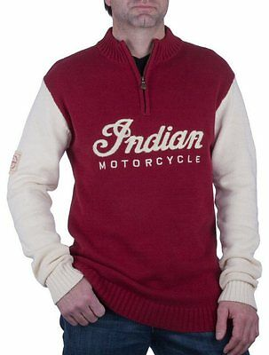 Indian Motorcycle Mens Red White Race Knit Jumper Cardigan casual gift LARGE