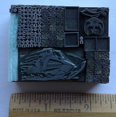 Dingbat lot letterpress printing blocks type font lead decorative borders OLD