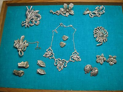 VINTAGE 1950's COLLECTION OF MARCASITE  JEWELLERY NECKLACE , BROOCHES EARRINGS